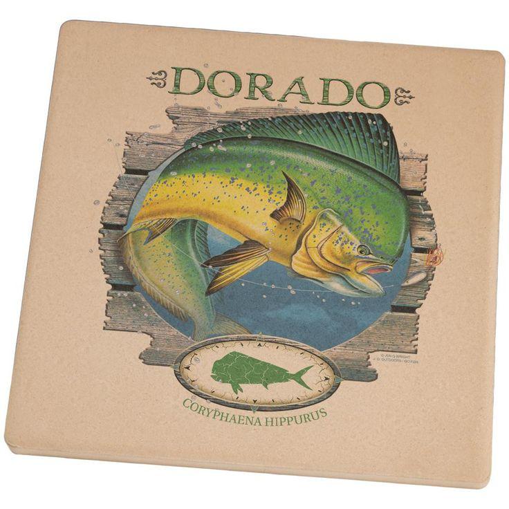 Dorado Deep Sea Fishing Set of 4 Square Sandstone Coasters
