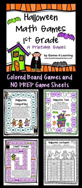 Halloween Math Games for First Grade - Colored math board games and black and white print and play sheets! $