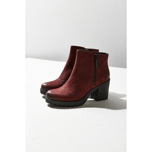 Vagabond Nubuck Grace Double Zip Ankle Boot ($150) ❤ liked on Polyvore featuring shoes, boots, ankle booties, vagabond booties, ankle bootie boots, maroon boots, ankle boots and gothic boots