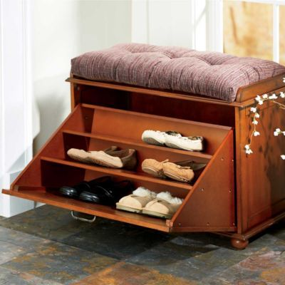 "Shoe Storage Bench. What's Included:	 Shoe Storage Bench Dimensions:	30""W x 16""D x 24""H Weight:	38 lbs. Weight Capacity:	280 lbs. Materials:	MDF and Veneer Assembly:	Simple Assembly Required $130"