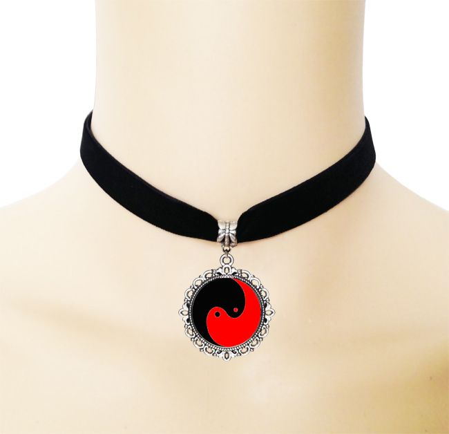 Red and black yin yang cross necklace gothic style ribbon choker necklace glass Tai Chi picture jewelry Taoism handmade necklace //Price: $US $2.39 & Up To 18% Cashback //     #steampunk