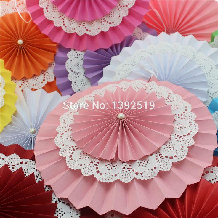 Pink leques de papel rosetas decorações para chuveiro de bebê menina festa de aniversário ou contexto do casamento em Decoração de festa de Casa & jardim