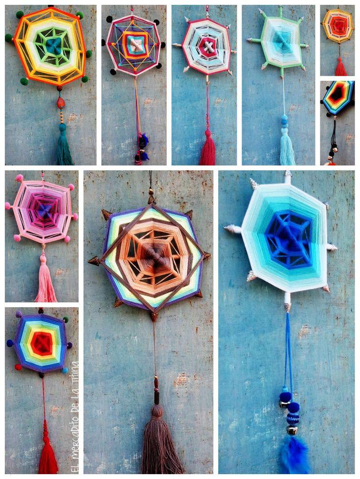 Mandalas de 20 cm de diámetro realizado con hilo de algodón