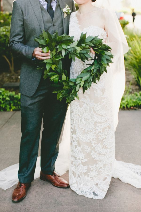 Heart-shaped wreath for rustic Napa wedding: Romantic spring table decor: http://www.stylemepretty.com/little-black-book-blog/2015/08/06/romantic-spring-wedding-at-etude-winery/ | Photography: One Love - http://www.onelove-photo.com/