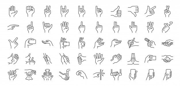 Hand Gestures Line Icon Set In 2020 Icon Set Line Icon Hand