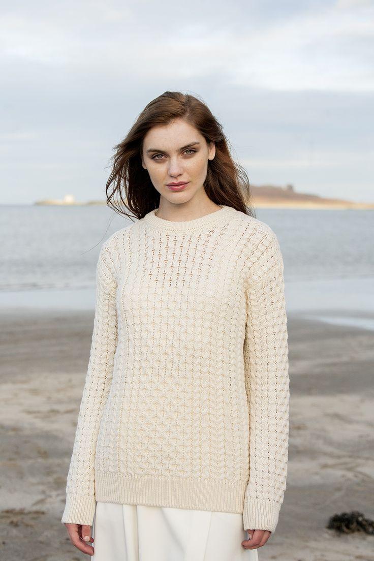 Lightweight Mariner Aran Sweater in Natural