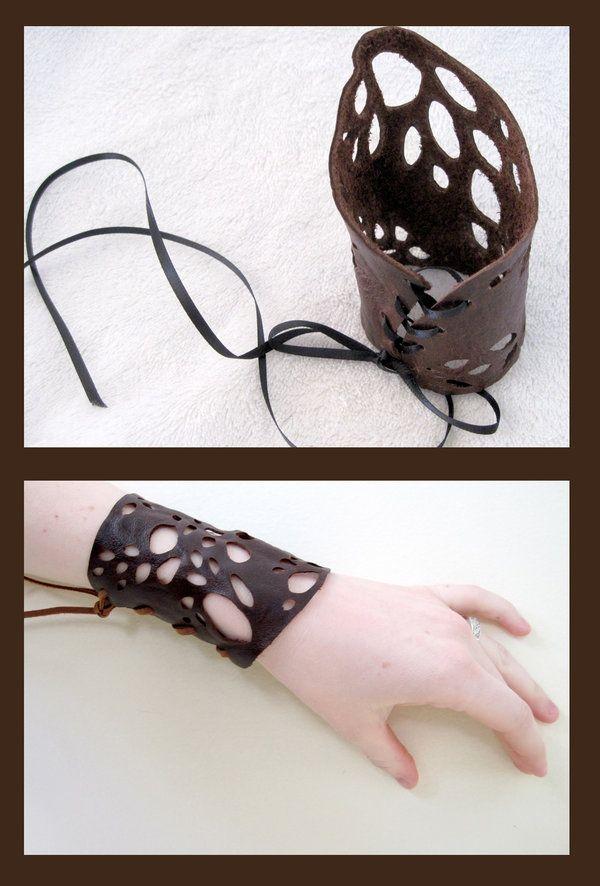 Leather Lace Cuffs by nolwen.deviantart.com on @deviantART