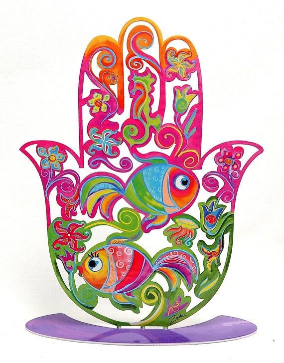 Hand Made High Design Hamsa Hand Fish In Colored Metal Made