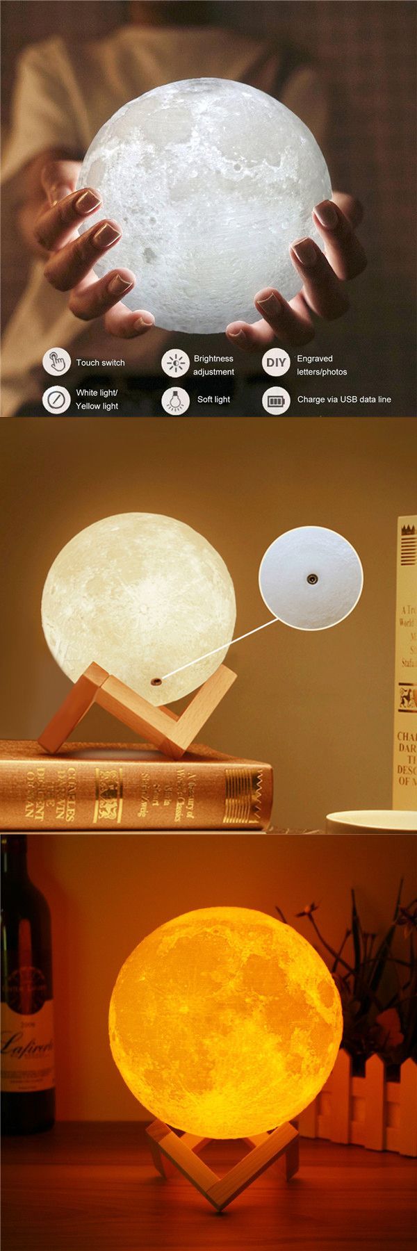 DecBest Magical Two Tone Moon Lamp USB