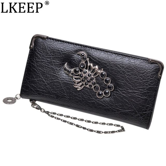 Cut Price $7.15, Buy 2018 Hot Fashion Metal Skull Pattern PU Leather Long Wallets Women Wallets Portable Casual Lady Cash Purse Card Holder Gift