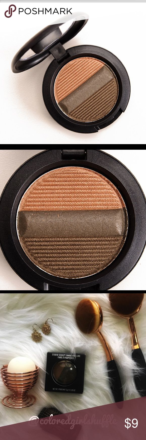 """MAC Sculpt, Shade and Line Eyeshadow Olive Blend MAC Sculpt, Shade and Line Olive Blend Eyeshadow. The Studio Sculpt Shade & Line Eyeshadows can be used wet """"for a defined look with super-saturated colour"""" or dry for """"medium buildable coverage.""""   -Never used -Still in original box -Box in good condition with slight marks and wear which are depicted in the pictures  Feel free to make any offer, ask any questions or suggest a trade! ❤️❤️❤️ Thanks for checking my closet out and Happy Poshing…"""