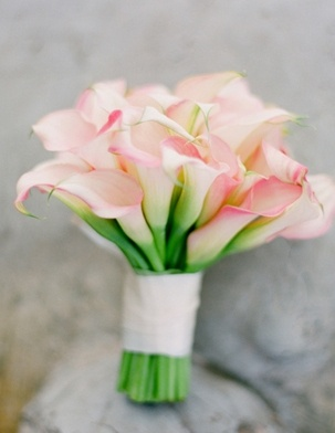 Peach calla bouquet