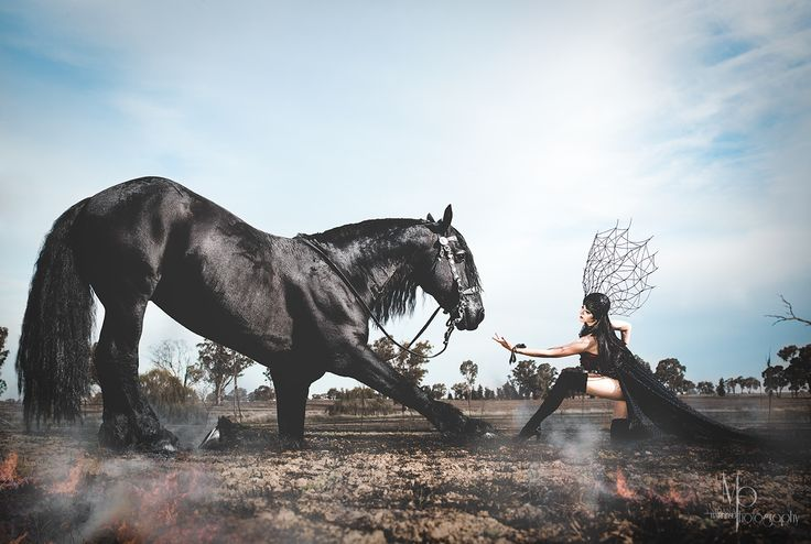Whizzard. The Friesian Stallion   Moana Barroso Photography MUA & Model: Angie Y Designer: Tarese Klemens  #www.facebook.com/Moanabphotography#moanabarrosophotography #Angie Y #TareseKlemensdesigns #designer #photographer #surreal #stallion #horse #model #makeup #photography