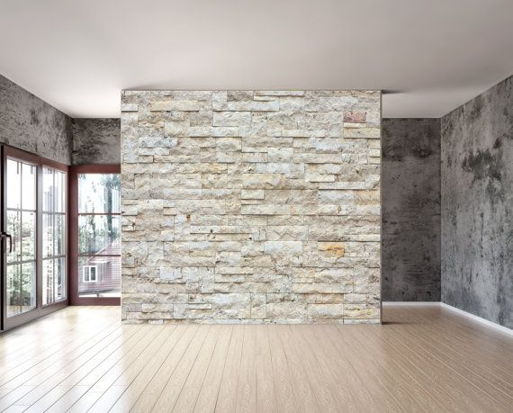 stone wall blocks texture wall mural is a repositionable peel stick fabric material with an. Black Bedroom Furniture Sets. Home Design Ideas