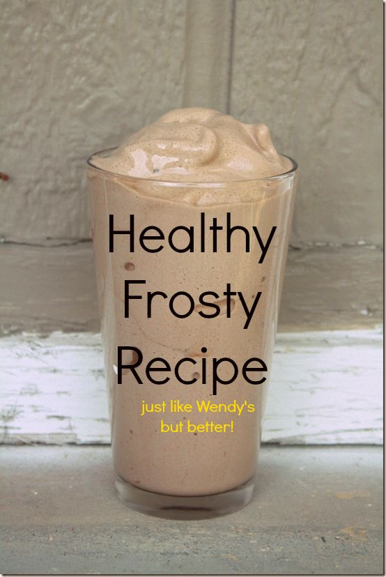"""3/4 cup unsweetened almond or coconut milk, 15 ice cubes, 1/2 tsp. vanilla, 1-2 tbsp. unsweetened cocoa, 1/3 of a banana.  Blend and BLISSSSSS!!!""   NOTE- does not taste like wendy's frosty to me, BUT it's a good substitute when trying to eat healthier."