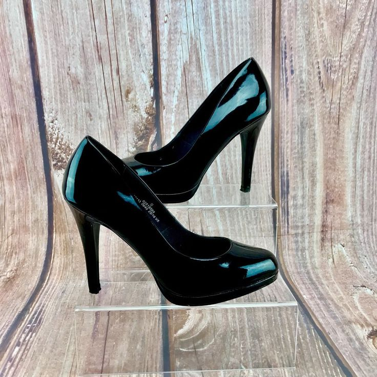 M&S COLLECTION Womans court Shoes black patent Uk 5 marks & spencer high heels