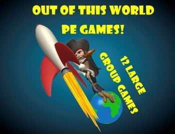 "The following ""cosmic"" games are a series of fast paced, high energy, large group PE games set to a theme that is ""Out of this World."""