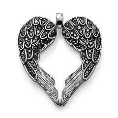 PE425-051-11.  Thomas Sabo. Sterling Silver.  Classic.  Black Syn.  Zirconia.  The feather heart stands for total faith in true love and the willingness to protect it.  4.3cm