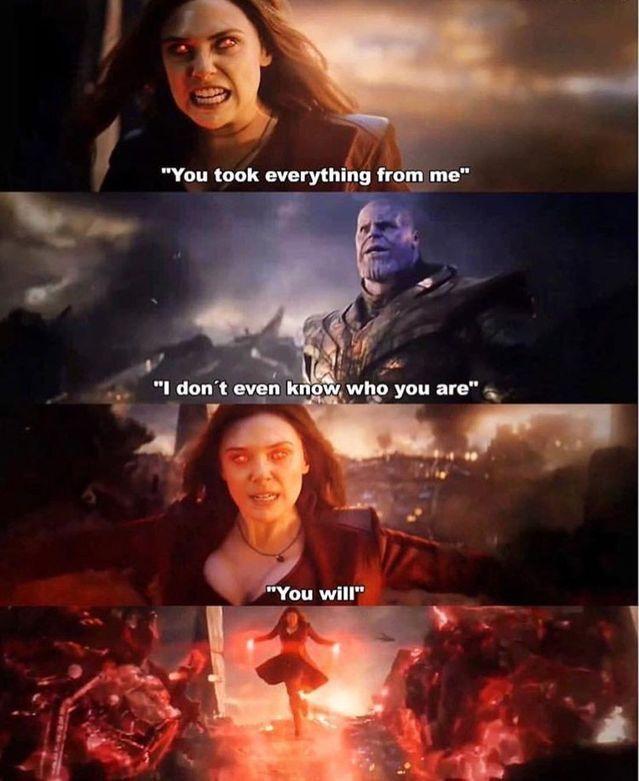 Scarlet Witch Vs Thanos My Second Favorite Scene From Endgame Marvel Jokes Marvel Funny Marvel