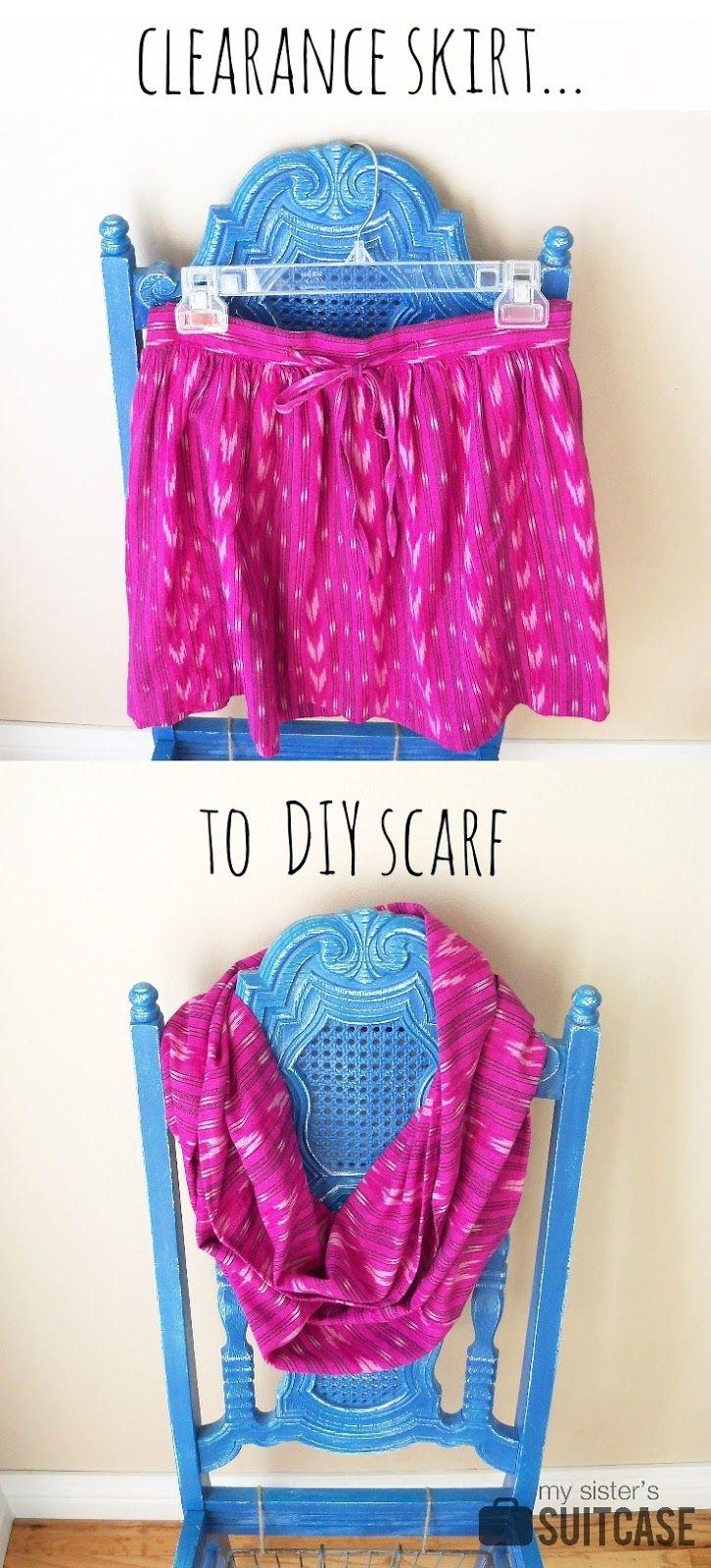 $5 Friday: Skirt to Scarf   DIY   Diy scarf, Diy clothes