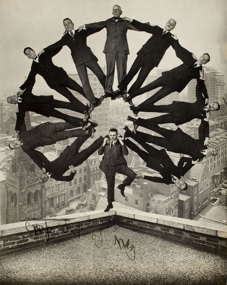 Unidentified American artist  Man on Rooftop with Eleven Men in Formation on His Shoulders  c. 1930  Gelatin silver print  Collection of George Eastman House, International Museum of Photography and Film, Rochester