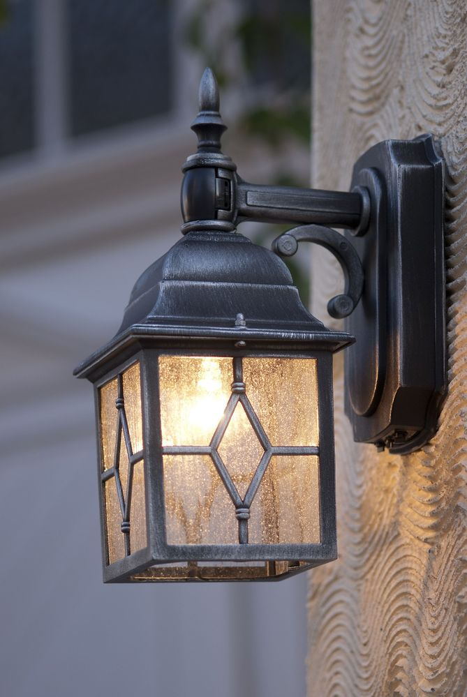 Antique Outdoor Lamp With Hidden Motion Detector Sensor Lantern Outside Lighting