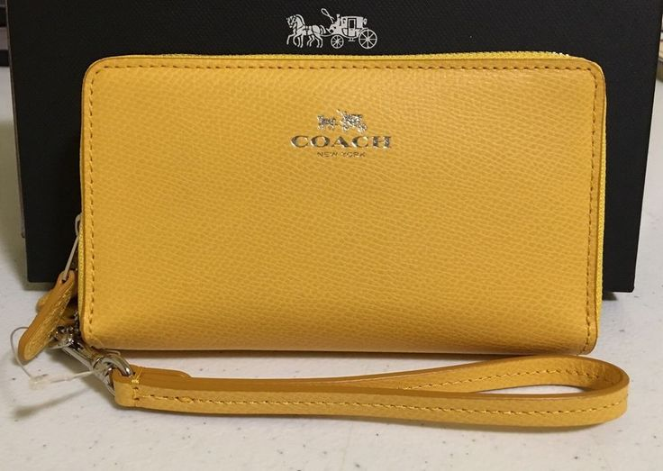 COACH CROSSGRAIN LEATHER DOUBLE ZIP MULTIFUNCTIONS PHONE WRISTLET WALLET F53896 #Coach #PhoneWristlet