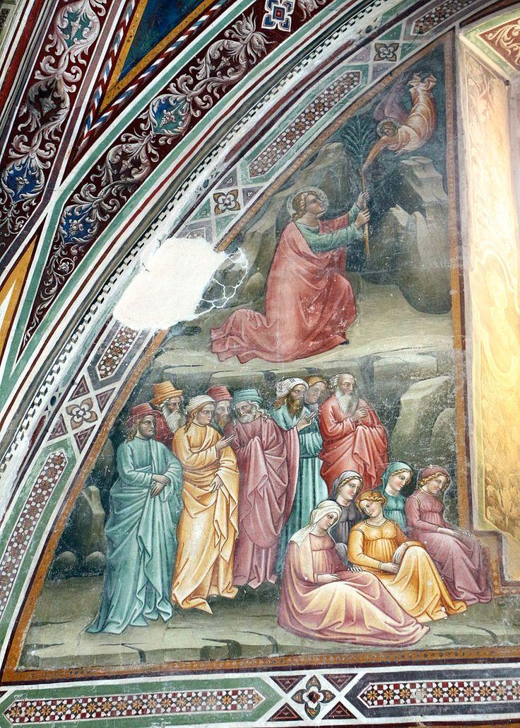 Cenni di francesco, cappella della croce di giorno, 1410, seth riceve l'albero del peccato e lo pianta sulla tomba di adamo 02.JPG