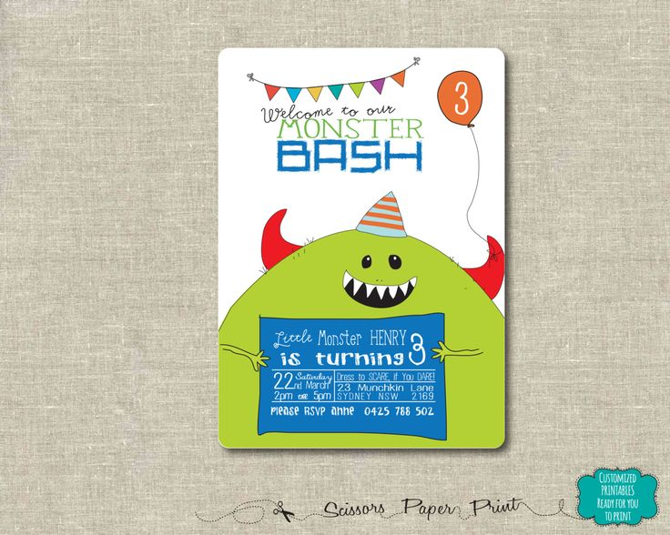 Monster Party Invitation, Modern Printable Monster Birthday invitation, Cute Birthday, Customised Invitation. Monster Bash, Monster Mash by ScissorsPaperPrint on Etsy https://www.etsy.com/listing/249044417/monster-party-invitation-modern