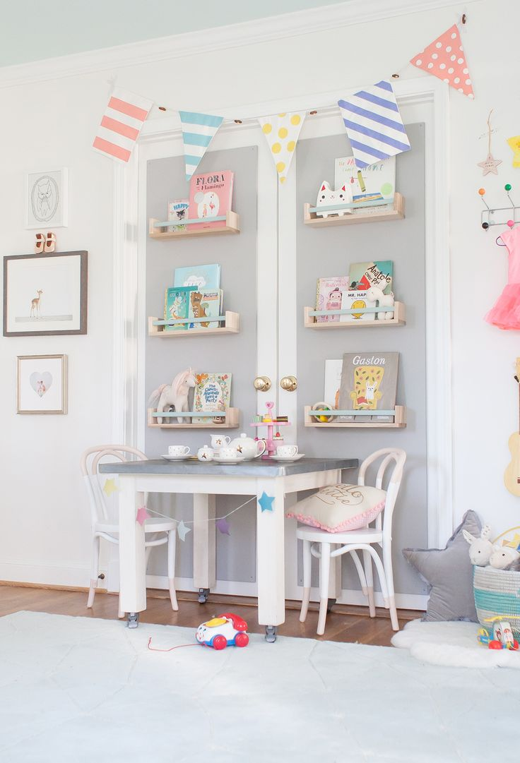 Play Table and Book Wall in Nursery from Lay Baby Lay