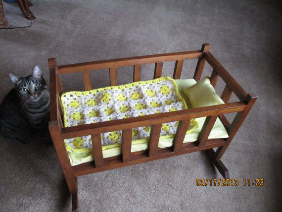 Vintage Baby Doll Cradle Bed With New Bedding And Baby