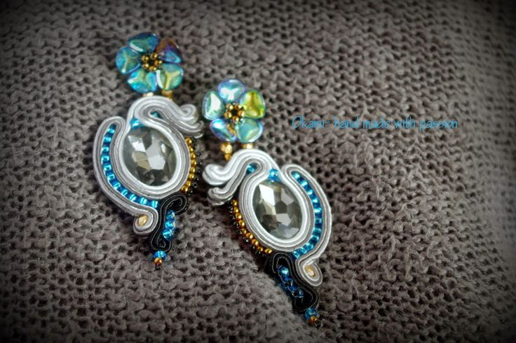 Grey and blue flowery soutache earrings