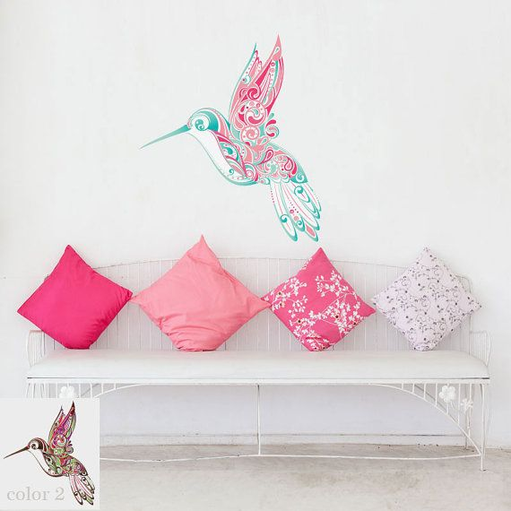 Hummingbird Swirl Wall Sticker Decal for Girls Room Wall Mural on Etsy, $42.99