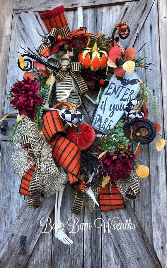 Mr Sexy Bones, Skeleton Wreath, Skeleton Decor, Halloween Wreath - halloween decorations skeletons