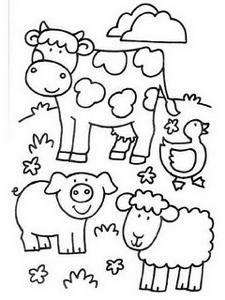 Animales de granja... dibujos para colorear