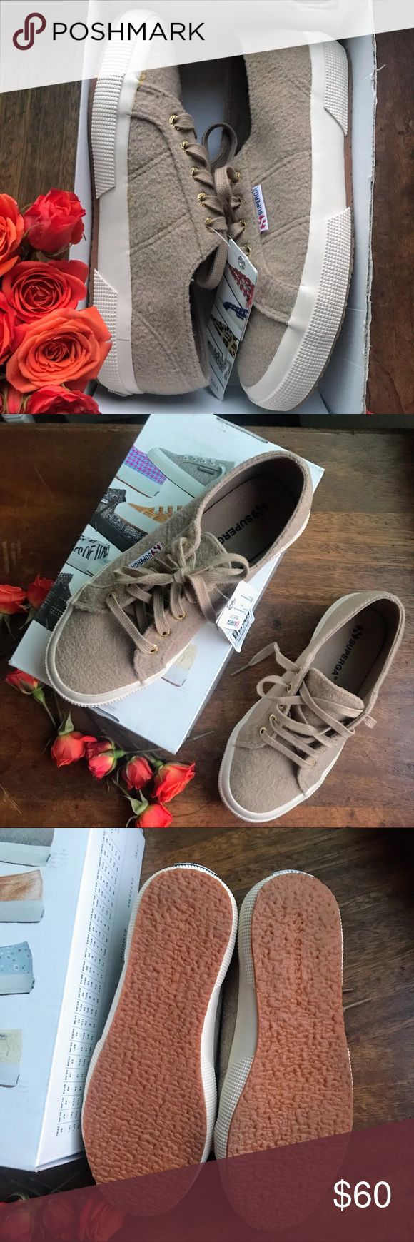 "HP🎉NIB Superga sneakers • BNWT attached, in box (no lid) Superga 2750 Polywool sneakers • Size 37.5 or women's US size 7 according to box but run big and fit more like a US 7.5  • Color is beige (also tagged Tan, Brown, Coffee, Cream) • The wool fabric upper gives these classic sneakers the warm and ""fuzzies."" Pair them with your favorite jeans, shorts, skirts, dresses— I have them in a camo print, so comfy!! Please know your size in this brand, Posh doesn't approve returns due to size and…"