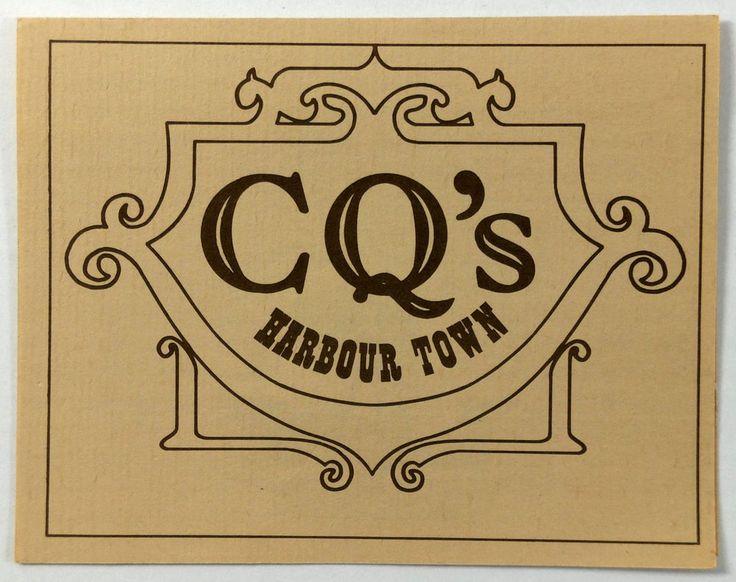 Vintage Small Menu Brochure CQ's HARBOUR TOWN Hilton Head Island South Carolina