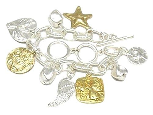Charm Bracelet D6 Angel Wing Star Heart Gold Silver Tones... www.amazon.com/...
