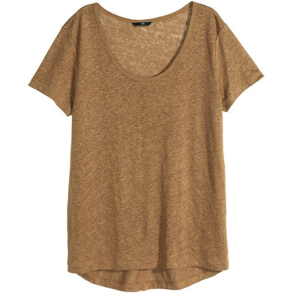H&M Linen T-shirt $12.99 ($13) ❤ liked on Polyvore featuring tops, t-shirts, t shirts, blusas, shirts, brown shirt, linen tee, linen t shirt, curved hem t shirt and brown t shirt