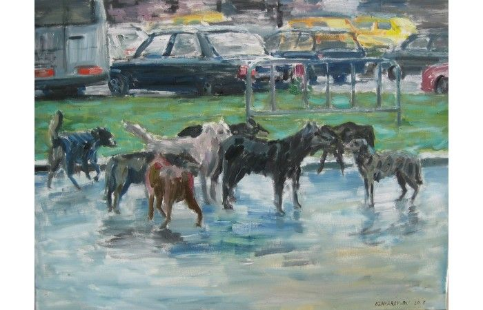 Vasyl Dzhabraylov Dogs  [2013]  Oil on canvas 60 × 80 cm (23.6 × 31.5 inch) Estimate €300 - €400  http://lavacow.com/bucharest-dogs.html