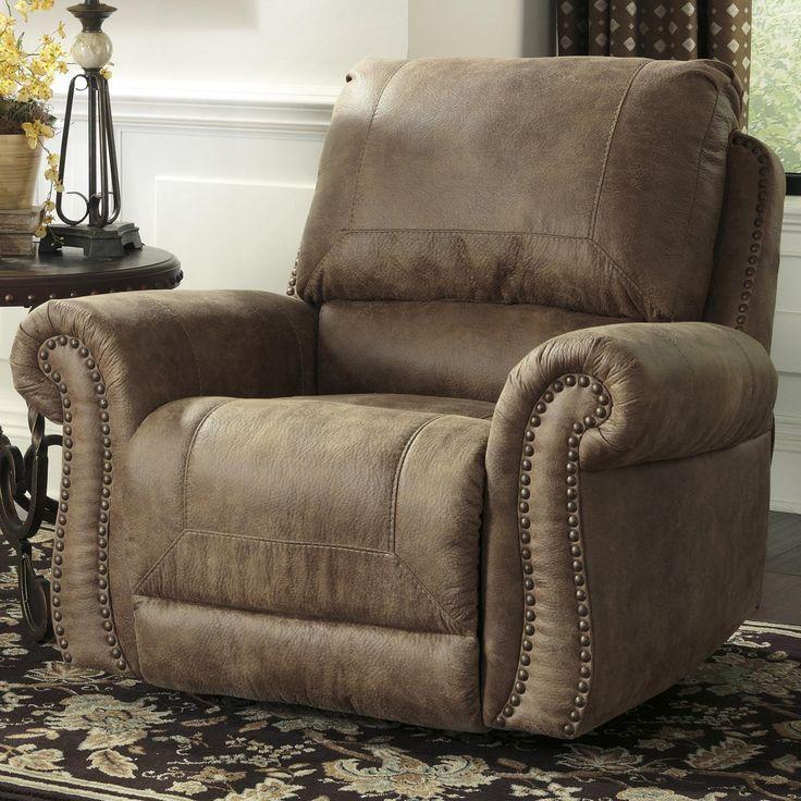 Larkinhurst earth roll arm rocker recliner w nailhead for Furniture mattress city