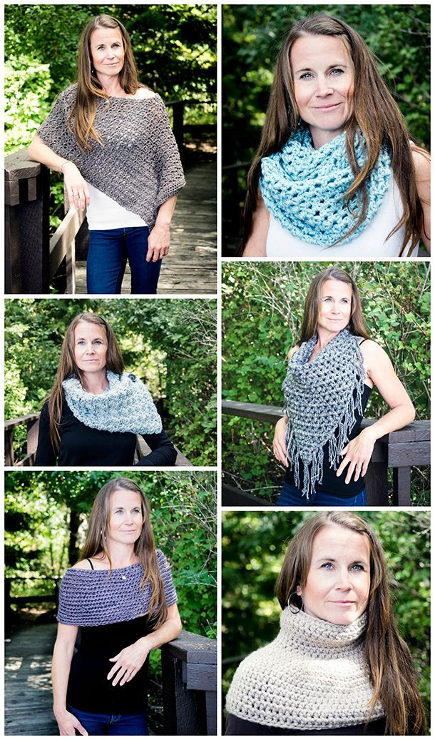 Simple but elegant crochet patterns. They're not only a cozy option for a chilly winter day, they're gorgeous, outfit-enhancing accessories. These  patterns are perfect for stylish fashionistas who hate being cold. Makes great gifts for your friends and family.