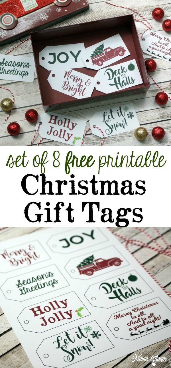 Free Christmas Gift Tags - Set of 8 FREE Printable Tags | HOLIDAY ...