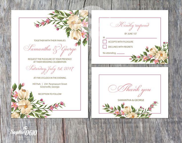 Feel the elegance of this printable floral wedding invitation by Sophie0610Designs on Etsy just klick on the link for more www.sophie0610designs.etsy.com