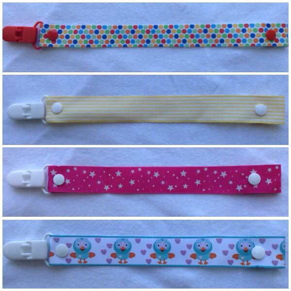Some of the new dummy clips available! Check out www.facebook.com/littlemisslolas for more or to order. $4.50 each or 2 for $8 inc. postage within Australia.