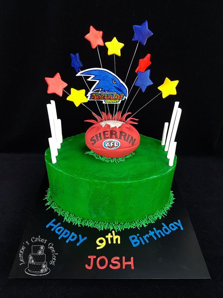 Adelaide Crows Footy Cake:Chocolate mud cake with chocolate ganache filling and covered in buttercream. The football is made of LCM's covered in fondant. www.facebook.com/cakesbyleannerhodes