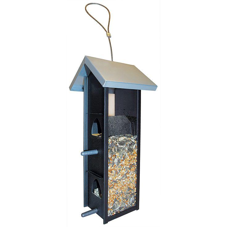 Vogelfutterstation 28 cm hoch mit Glasseite, Metalldach und 4 Futteröffnungen