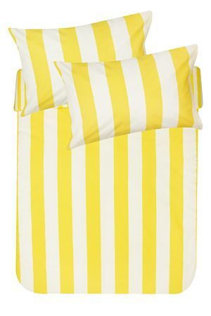 """This printed duvet cover set is made from a soft 132 thread count polycotton and features cabana stripes. This duvet cover will add a pop of colour to your room set. Single and three quarter include 1 standard pillowcase double, queen, king and super king include 2 standard pillowcases.<div class=""""pdpDescContent""""><BR /><BR /><b class=""""pdpDesc"""">Fabric Content:</b><BR />45% Cotton 55% Polyester<BR /><BR /><b class=""""pdpDesc"""">Wash Care:</b><BR>Lukewarm machine wash</div>"""