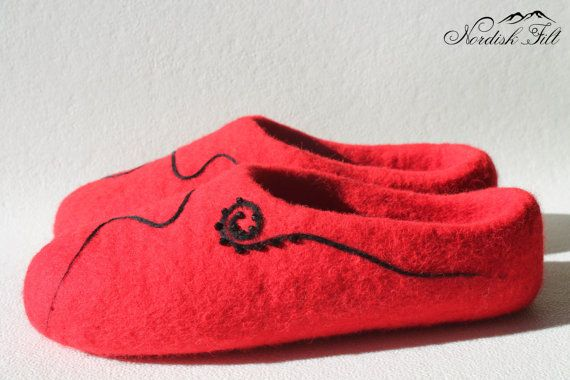 Felted red wool slipper-warm house shoes-made to by NordiskFilt
