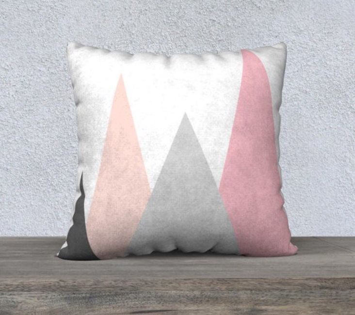 Pink and grey mountains cushion, scandi pink cushion | Unique ...